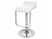 "Omega ""Leather"" Contemporary Adjustable Barstool - Vanilla White"