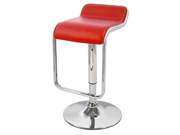 "Omega ""Leather"" Contemporary Adjustable Barstool - Cherry Red"