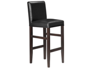 Set of 4 Kendall Contemporary Wood/Faux Leather Barstool - Black Licorice