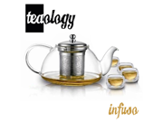 Teaology Infuso Borosilicate Glass Teapot Kettle and 4 Cups Set