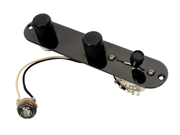 Fender Telecaster 4 Way Control Plate w/Oak Grigsby Switch - CTS Pots - Black