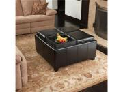 Christopher Knight Home Dartmouth Four Sectioned Black Leather Square Storage Ottoman