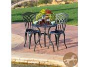 Christopher Knight Home Sanders 3pc Black and Sand Cast Aluminum Outdoor Bistro Set
