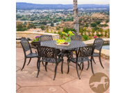 Christopher Knight Home Hallandale Newcastle 7pc Cast Aluminum Bronze Outdoor Dining Set