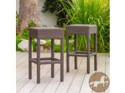 Christopher Knight Home 239350 Dark Brown Wicker Bar Stool (Set of 2)
