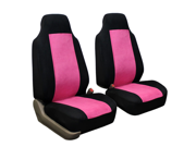 FH-FB105102 FH Group Classic Suede Car Seat Covers Set of 2 Bucket Covers Airbag Safe Pink