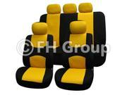 FH Group Flat Cloth Seat Covers Solid Bench for Sedan, Suv, Truck Yellow