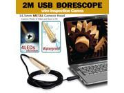 2m 6ft USB Waterproof Borescope Endoscope Inspection Camera Snake Tube Pipe with 4 LED lights Compatible with XP Vista Win7