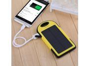 Yellow 5000mAh Dual-USB Port Solar Panel Charger Waterproof Shockproof Dustproof Power Bank Battery Charger Backup for iPhone 6 6 Plus 5S 5C 5 iPad Air 5 4 3 iPad Mini GPS Camera etc.