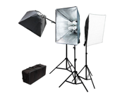 LoadStone Studio 2400W 3 Softbox, Lighting & Boom Kit - 2.40 kW