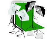 Lusana Studio Photography Backdrop stand 3 Muslins Lighting Softbox Kit LNG104