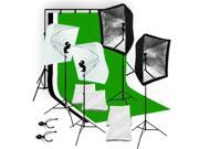 Lusana Studio Photography Backdrop 3 Muslins Lighting Light Softbox Kit LNG1496