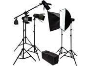 LoadStone Studio  Photography Studio Continuous Lighting Kit 2450W Barndoor Lights and Boom Stand
