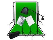 LoadStone Studio 3 Muslin Background Video 3600W Softbox Light Boom Kit LTG1065