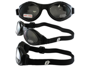 Birdz Owl Black Frame Motorcycle Goggles with Clear, Smoke and Yellow Shatterproof Anti-Fog Polycarbonate Lenses and Vented Open Cell Foam and a Carrying Case