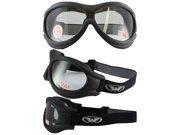 Big Ben Black Frame Motorcycle Goggles with Clear Shatterproof Anti-Fog Polycarbonate Lenses and Soft Airy Foam