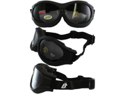 Birdz Buzzard Black Frame Motorcycle Goggles with Smoke Shatterproof Anti-Fog Polycarbonate Lenses and Vented Open Cell Foam