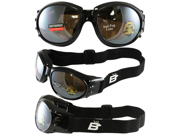 Birdz Eagle Black Frame Motorcycle Goggles with Driving Mirror Shatterproof Anti-Fog Polycarbonate Lenses and Vented Open Cell Foam