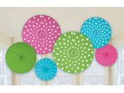Dots Printed Paper Fan Decorations (6)