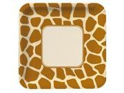 Animal Print Giraffe Deep Dish Square Dinner Plates - paper