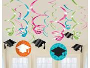 Colorful Commencement Graduation Hanging Swirl Cutouts - Paper