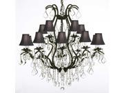 """Wrought Iron Chandelier Crystal Chandeliers Lighting H36"""" X W36"""" With Shades!"""
