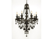 "NEW! JET BLACK CRYSTAL CHANDELIER LIGHTING H30"" x W26"" FREE S/H!"