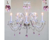 "Chandelier Lighting With Crystal Pink Hearts H25"" X W24"""
