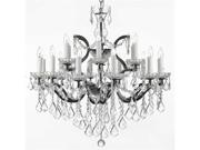 "19th C. Rococo Iron & Crystal Chandelier Lighting H 28"" x W 30"""