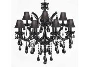 JET BLACK CHANDELIER CRYSTAL LIGHTING CHANDELIERS WITH BLACK SHADES!