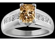 2.30 ct. Radiant princess white gold 14K champagne diamonds ring new