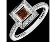 2 carat champagne & white diamonds ring solitaire with accents white gold 18K