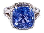Prong settings Cushion AAA tanzanite diamonds 6.01 carat lady men ring