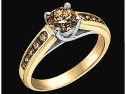 1.51 carats champagne cognac diamond ring yellow gold