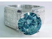 6.51 carats Blue round diamond anniversary ring white gold 14K lady jewelry