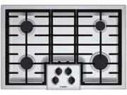 """Bosch  NGM5055UC:  30""""  Gas  Cooktop  500  Series  -  Stainless  Steel"""