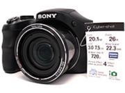 Sony CyberShot DSC-H200 20.1 Megapixels Digital Camera - 26x Optical/2x Digital Zoom - 3-inch LCD Display - 104 mm Lens - Black