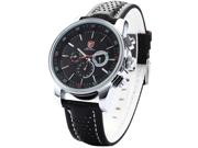 SHARK Water resistan Sport Quartz Date Day Analog Leather Mens Silver Case Watch