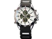 SHARK Mens Digital Black Rubber Multi-Function Military Sport Watch White Dial