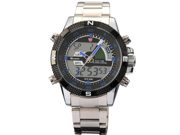 New SHARK Digital Alarm Day Date Stainless Mens Sport Wrist Watch Blue Dial