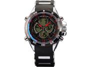 SHARK Mens Digital Black Rubber Multi-Function Military Sport Watch Red Dial