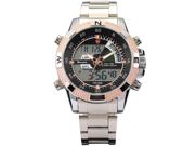 New SHARK Digital Alarm Day Date Stainless Mens Sport Wrist Watch Golden Dial