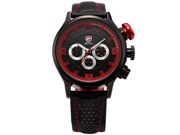 SHARK Fashion Military SH086 Men's Sport Date Day Quartz Analog Leather Wrist Watch - Red