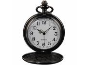 Timebear Vintage Black Mens Women Ladies Quartz Pendent Pocket Watch Clock Chain Gift