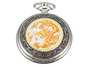 Timebear Mens Yellow Dragon Dangle Pendant Pocket Quartz Watch + Gift Chain