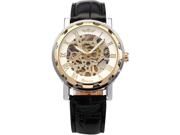 WINNER Skeleton Dial Men Hand-winding Mechanical Black Leather Band Wrist Watch