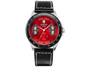 New Mens Red Black Leather Hand Winding Mechanical  Men'S Sport Wrist Watch