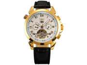 New Aotumatic Mechanical Analog Date & Day Luxury Mens Leather Watch Golden