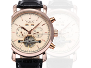 JARAGAR Automatic Mechanical Mens Rose Gold Classic Tourbillion Date Leather Sport Wrist Watch