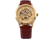 Luxury Automatic Mechanical Brown Strap Men's Gold Dial Skeleton Wrist Watch